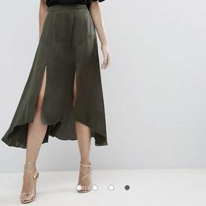 ASOS midi satin skirt with splices and seam detail